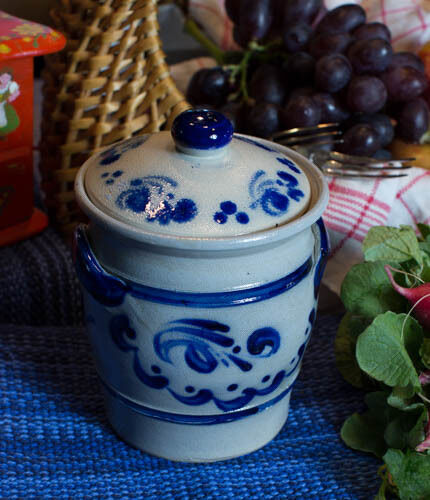 """Reis Fass"" Salt Glazed Stoneware Covered Crock to Add Fun in the Kitchen"