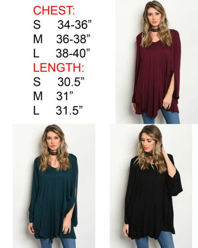 USA WOMENS SOFT KNIT LOOSE CASUAL LONG SLEEVE LAYERED TUNIC TOP SHIRT BLOUSE