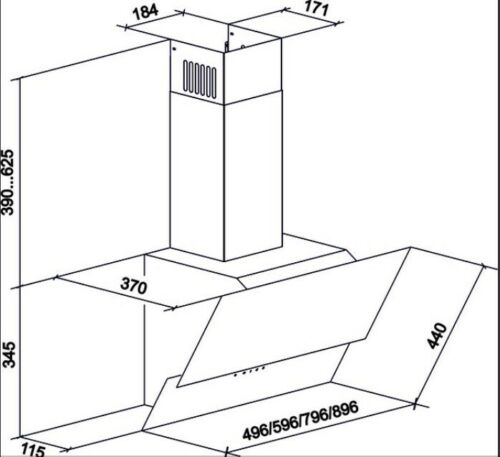 Gurari Dunstabzugshaube Abzugshaube 80cm 1000m³//h Kopffrei Schwarz Fernbedienung