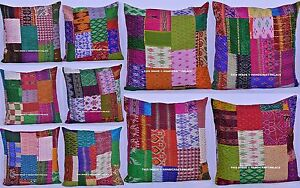 20-PCs-Wholesale-Lot-Indian-Silk-Sofa-Pillow-Case-Patchwork-Cushion-Cover-24-034