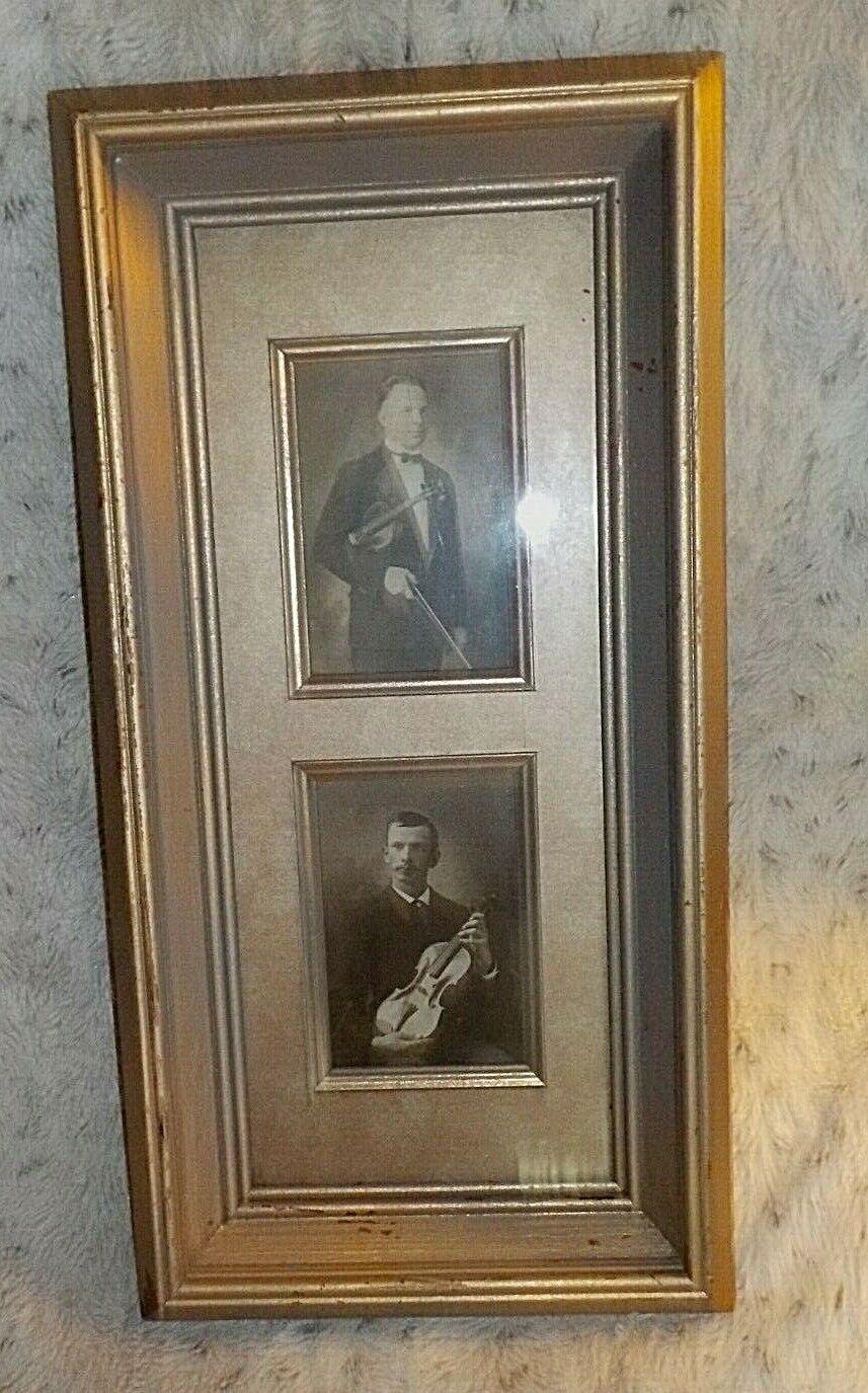 Framed pair of antique violinist CDVs, wood frame & fillets, 10  x 20