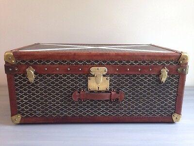 Vintage Goyard Steamer Trunk Hard Case Leather Suitcase Luggage Travel Antique