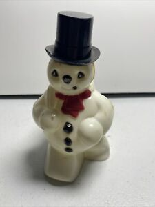 Vintage-Rosbro-Hard-Plastic-Snowman-Candy-Container-Christmas-Figure-5-034