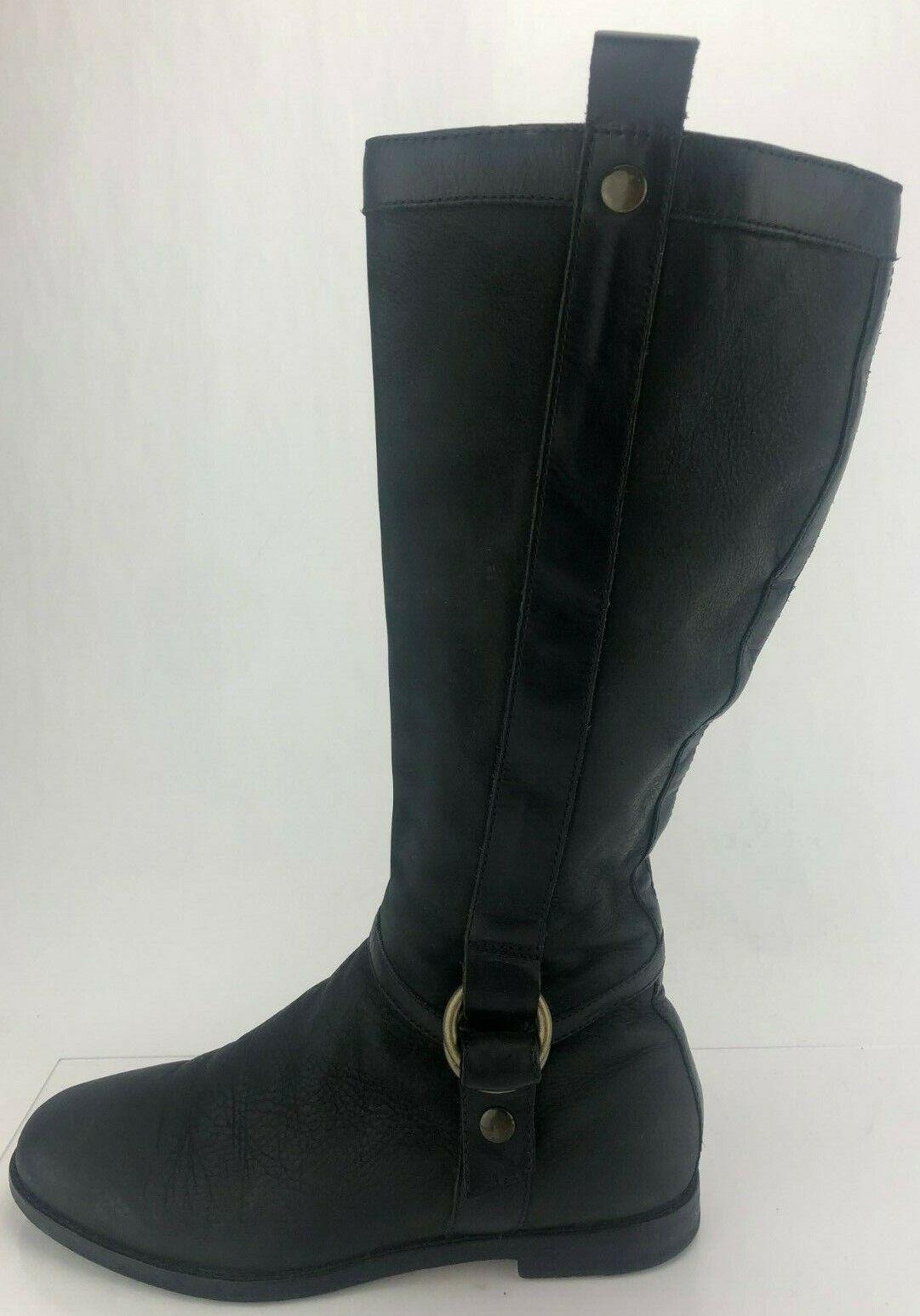 Cole Haan Équitation Bottes Fermeture Éclair Noir Confort hautes en cuir chaussures pour femme US 8 B