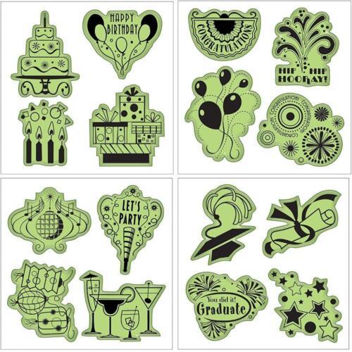 Inkadinkado Stamping Gear Cling Stamps Celebrations Fun Set