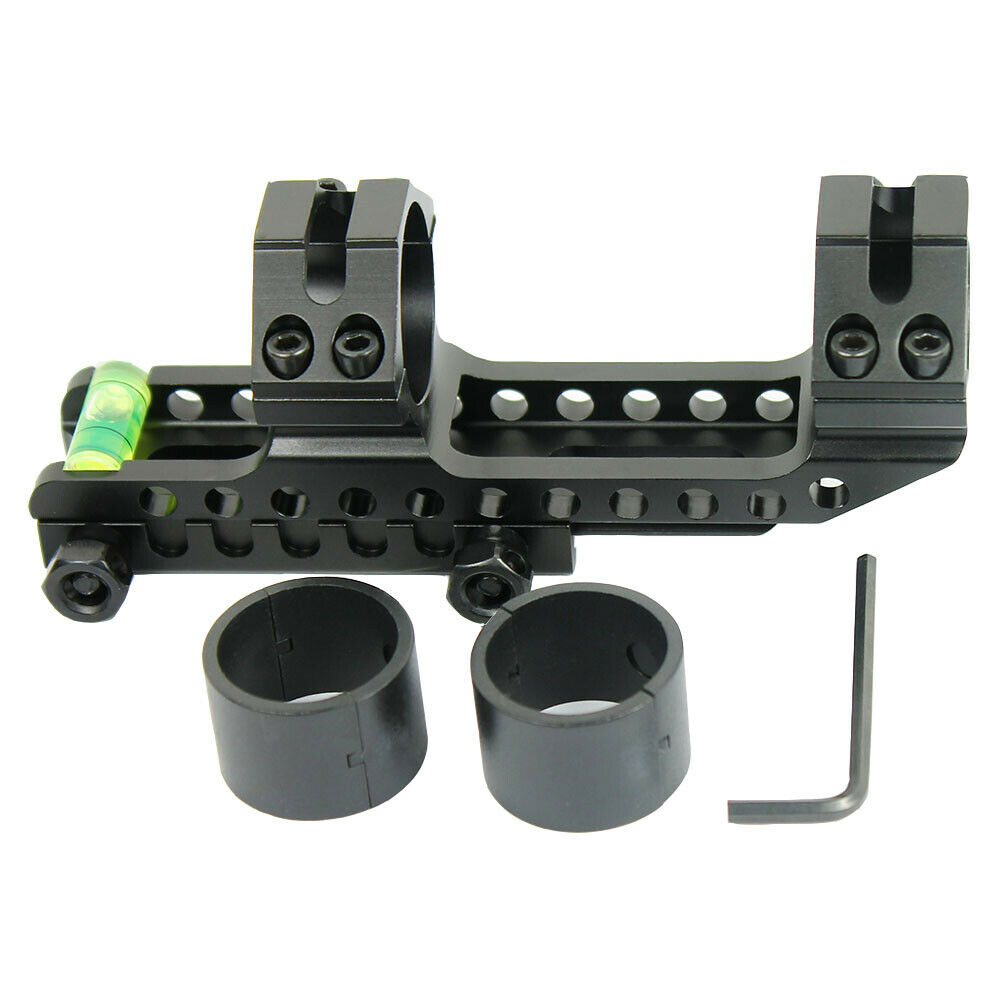 "PEPR Cantilever 1/"" to 30mm Rifle Scope Mount Picatinny Rails w// Bubble Level"