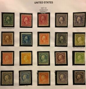 1917-19-US-Stamps-498-518-VF-OG-H-Set-Just-1-Used-Cv-500-600