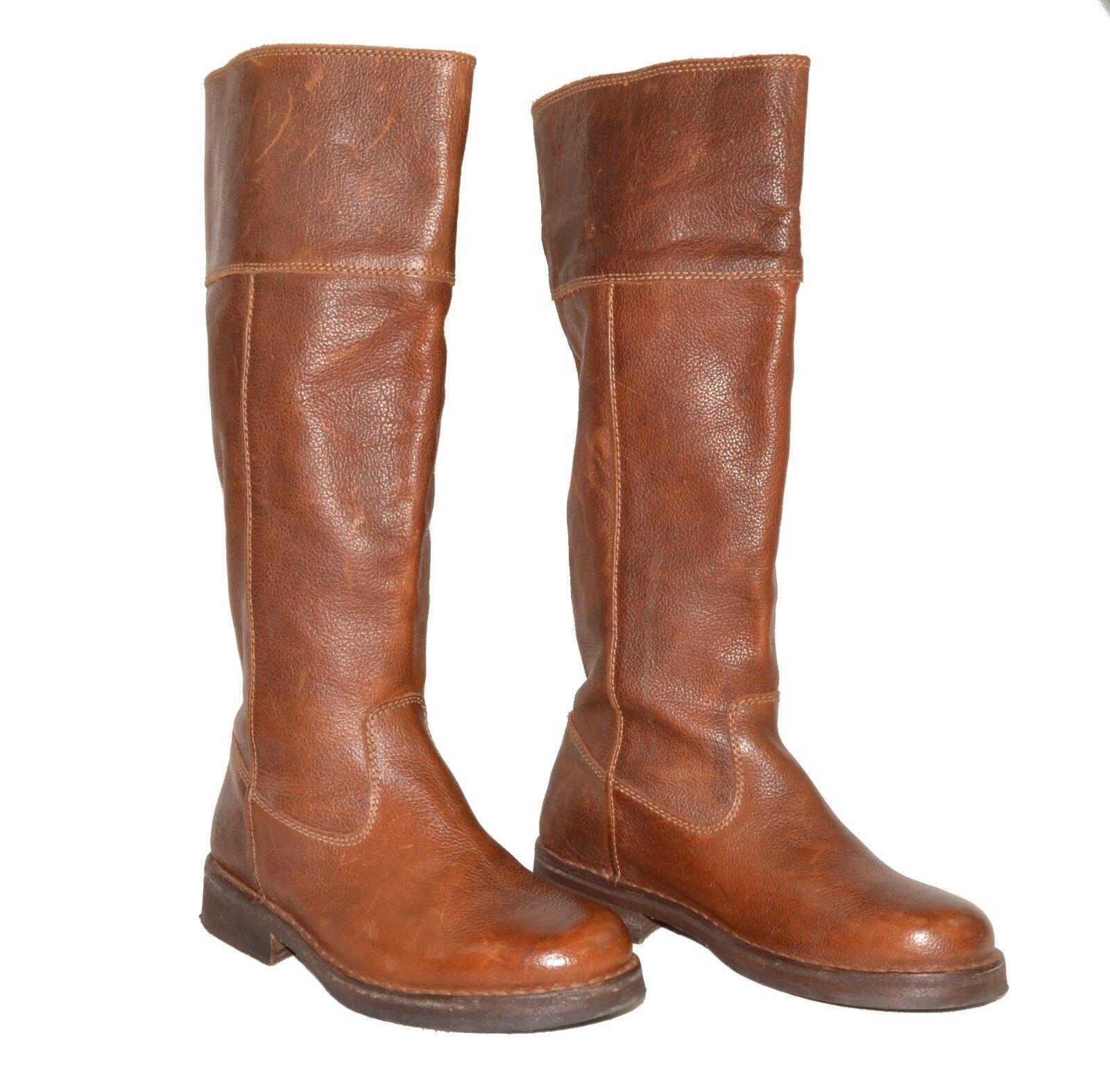 BODEN EU 5 36 UK 3 US 5 EU Dark Braun Distressed Leder Pull On Calf Length Stiefel a84597
