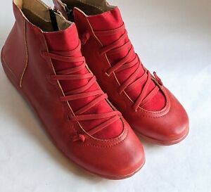 womens arch support red ankle boots shoes casual flat