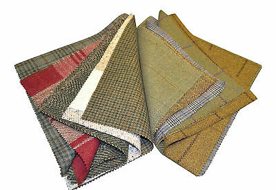 Tweed Patchwork 100% Wool Remnant Offcuts Squares 15 Pieces 23cm Random Mix