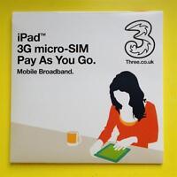 Three Mobile Broadband MICRO SIM 3G/4G iPad 1/2/3/4 & Tablets PAYG/PAYT Internet