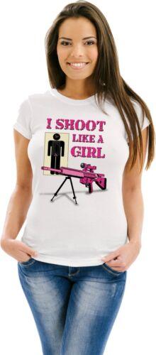 Women/'s Shooting T Shirt I Shoot Like A Girl Guns Ammo Tank Top S to 3XL