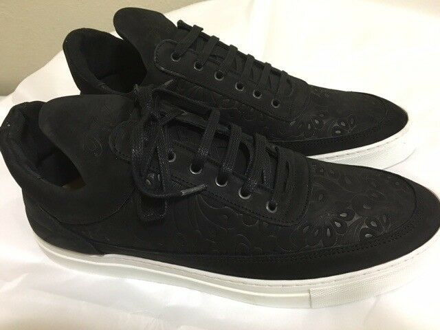 New FILLING PIECES Black Nubuck Leather FLORAL EMBOSSED Low Top SNEAKER Sz-45