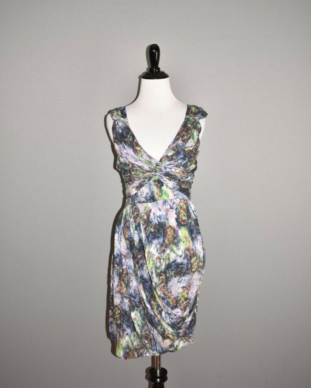 CATHERINE MALANDRINO NEW  148 Multi-color Ruched Draped Dress Size 0