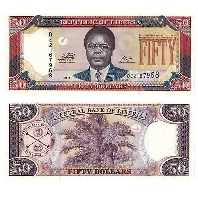 Paper Money: World Africa / 2317489## Liberal Liberia 50 Dollars 2011 Pick 29e Unc