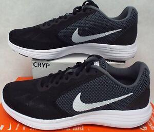 7cf4098bf379 New Womens 11 NIKE Revolution 3 Dark Grey Black White Run Shoes  60 ...