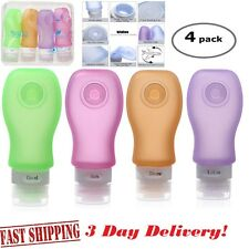 x4 - 3oz Squeez Silicone Leak Proof Travel Bottles TSA Airline Carry-On Approved