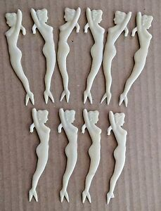 10 Vintage '50s Nude Pinup Mermaid Cocktail Martini Hors d'Oeuvres Picks Plastic