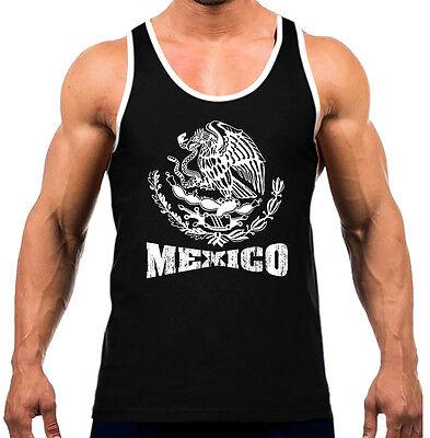 Men/'s White Mexico Seal Black T-Shirt Tank Top Gym Workout Fitness Latino Pride