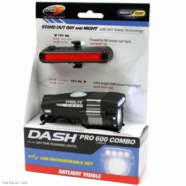 CYGOLITE Dash Pro 600 Lumens Front & Hotrod 50 Lumens Rear Bike Lights    130