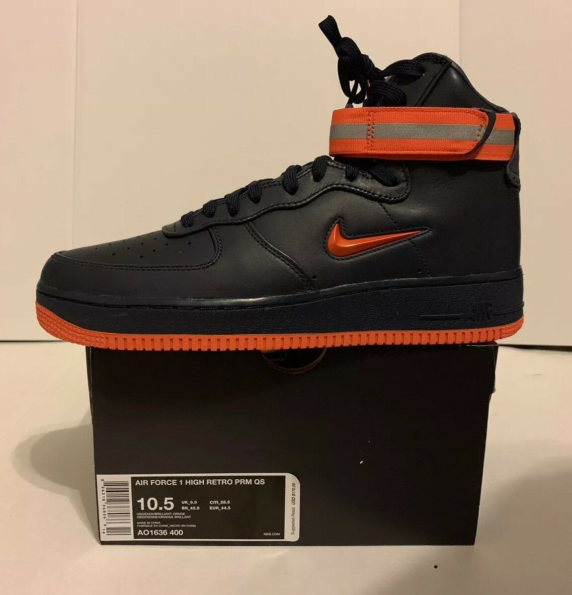 NIKE AIR FORCE 1 ONE ONE ONE HIGH RETRO PRM QS FDNY NYC AO1636-400 SZ 10.5 0579a2