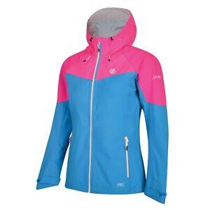Details zu Dare 2b Women's Reconfine Lightweight Hooded Waterproof Jacket Blue and pink