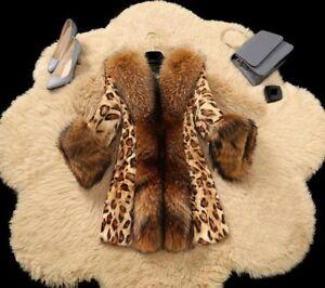 Ladies Leopard Collarcoat Faux Klassisk Women Print Fur Jacket Zsell Midlængde IrwUqr