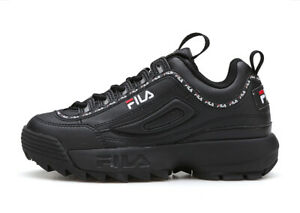 FILA-Womens-Disruptor-II-2-Tapey-Tape-Athletic-Shoes-Running-Sport-Sneakers-BLK