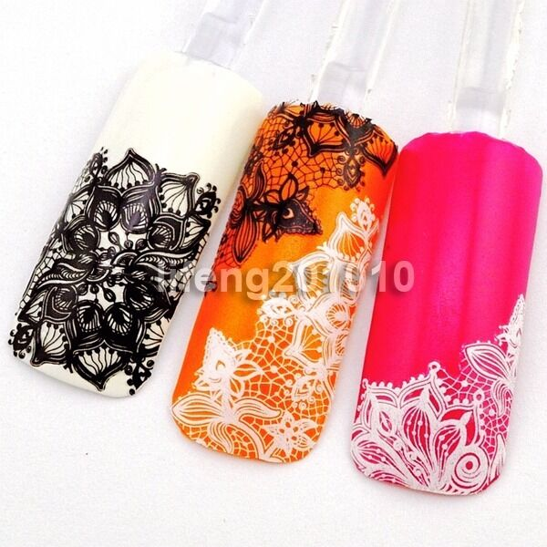 3D Black White Lace Design Nail Art Sticker Decals Nail Decoration Tool New 2015