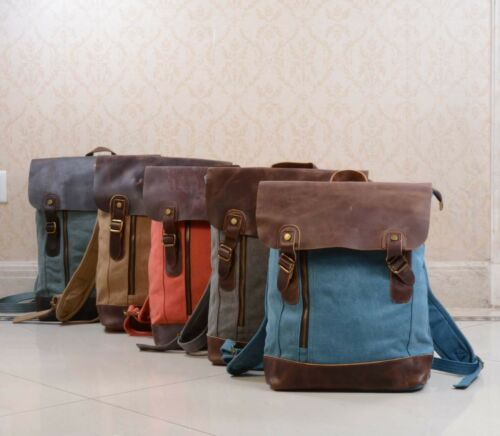 New Unisex  handmade Canvas backpack with leather cover