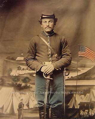 CIVIL WAR ANTIQUE PHOTO UNIDENTIFIED UNION SOLDIER WITH SWORD  #20871