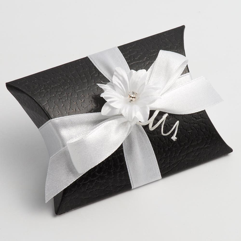 Effetto pelle nera pelle Cuscino Sacchetto Matrimonio scatole di favore favore favore Fai Da Te Festa Di 60a9be
