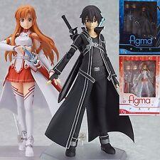2Pcs Gifts Sword Art Online SAO Asuna Kirito Action Figure Figma Figurine in Box