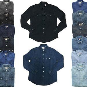 Levi-039-s-Levi-Strauss-Mens-Barstow-Denim-Pearl-Snap-Button-Down-Western-Shirt