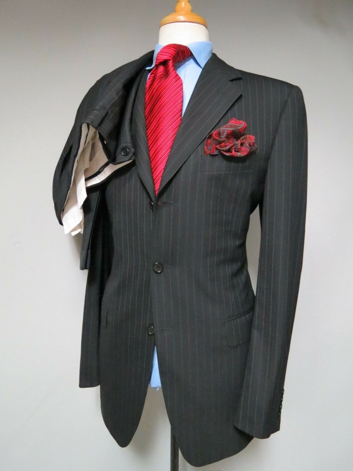 Canali Made in  side vented navy pin stripe Full Canvas suit 40 L