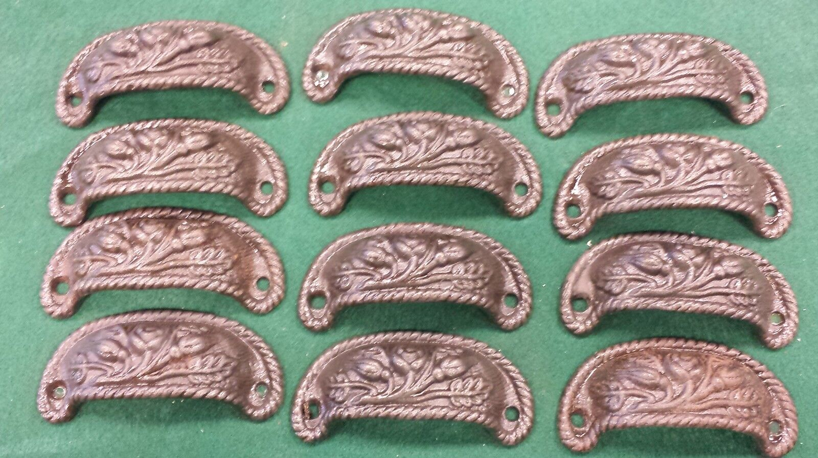 DRAWER PULLS EMBOSSED FLORAL DESIGN CAST IRON VICTORIAN STYLE SET OF 12