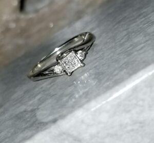 b998e1637 Kay Jewelers 10k White gold Quad Diamond pre promise Engagement ring ...