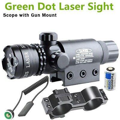 2XGreen Dot Laser Sight Rifle Gun Scope w/ Rail Barrel Mount Cap Pressure Switch