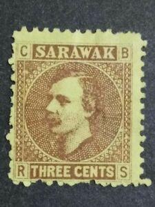 Malaya-Sarawak-1871-Sir-Charles-J-Brooke-3c-Single-Issue-1v-MNG-But-Thin