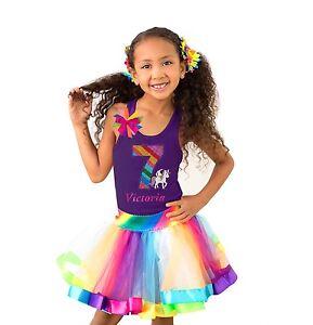 Girls Unicorn Fairytale Pony 7th Birthday Shirt Rainbow Tutu Outfit Sock Name