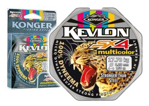 Geflochtene Schnur KONGER Kevlon Multicolor Angelschnur 150m 0,18-0,30mm 0,09€//m