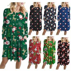 Women-039-s-Christmas-Santa-Claus-Pattern-Printed-Round-Neck-Dress-Ladies-Long-Tops
