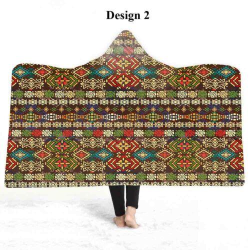 Ethnic BOHO Mandala Geometric Zigzags Diamonds Fleece Hooded Blanket Sofa Throw