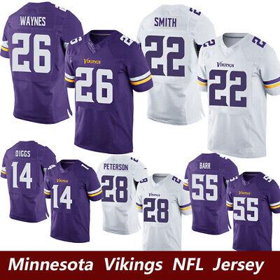 Minnesota Vikings NFL Men/'s Home Jersey BARR PETERSON WAYNES SMITH DIGGS T-shirt
