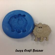 Silicone Mould Spring Lamb Sheep Farm Yard Sugarcraft Cupcake Topper Flowerpaste