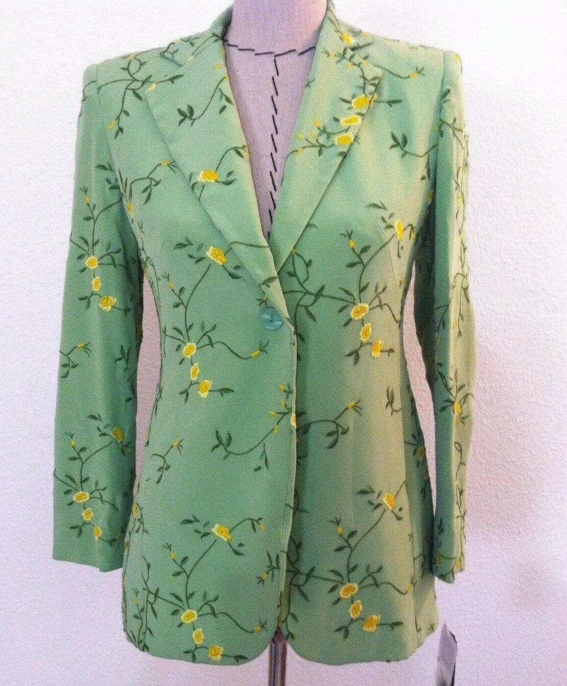 New Rena Rowan woman blazer 100% silk green yellow floral embroid size 2P petite