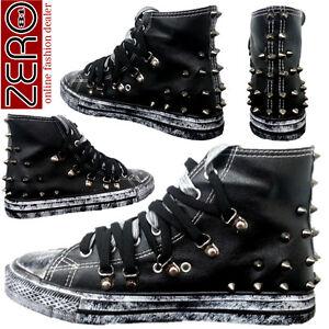 Scarpe-Uomo-Sneakers-Alte-Eco-Pelle-Nero-Lacci-Borchie-Stivali-Nuove-Zero81-k36U