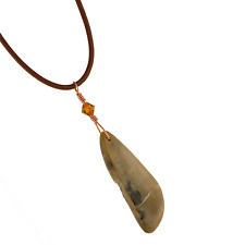 Arizona Petrified Wood Artisan Pendant Necklace A047-11 Leather Cord Transform