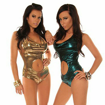 76affb516798 ONE PIECE MONOKINI SWIMSUIT - 8 -10 - Metallic - Gold - Turquoise - Sexy -  Beach | eBay