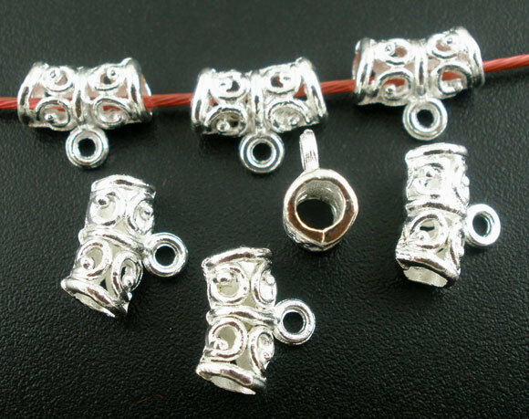 20 x 8mm silver metal jewellery bails for cord and jewellery making